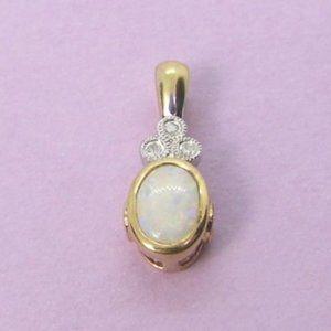 Opal Diamond Pink Topaz 10KY gold Pendant